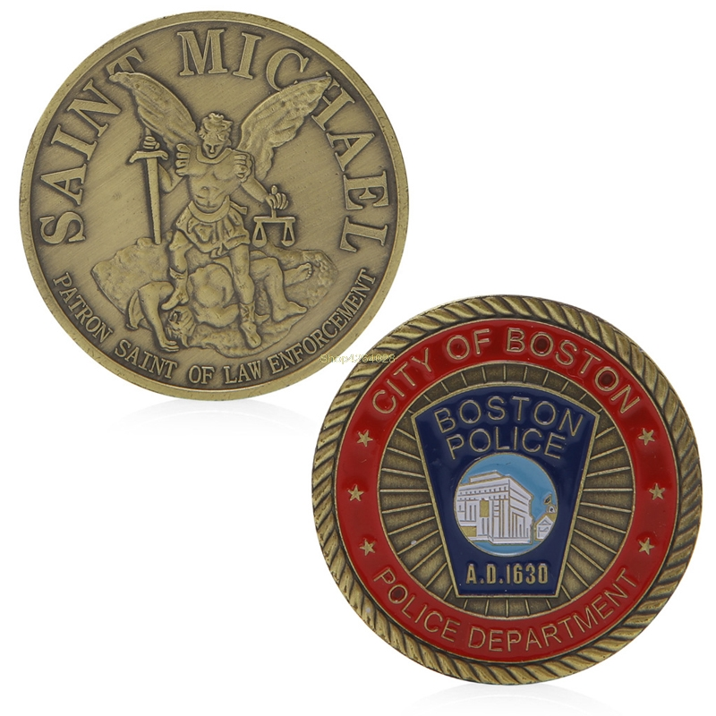 2018 Meaningful Saint Michael & Boston Police Commemorative Coin Zinc Alloy Commemorative Coin Collection No-currency Coins Gift