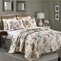 3pcs Bedding Set Cotton Summer Quilt Bird Printed Quilted Stiched Bedspread Bed Cover Bed Sheet Factory