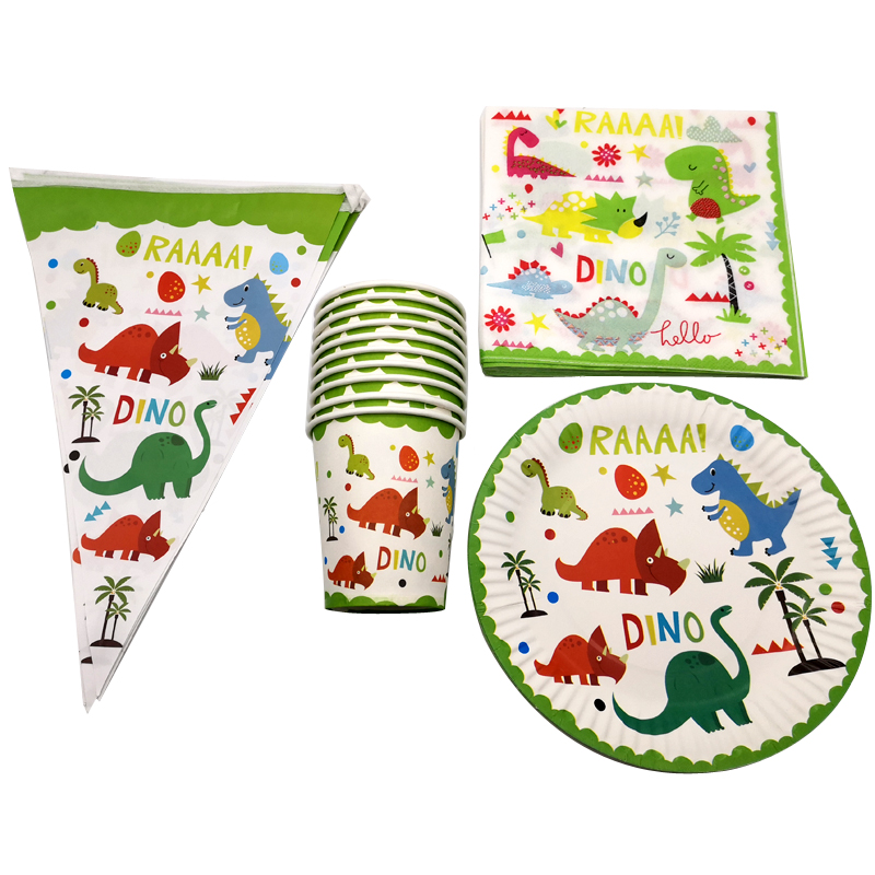 80PCS Cute Cartoon Dinosaur Theme Plates Cups Tableware Set Birthday Party Flags Decorate Napkins Baby Shower Hanging Banner