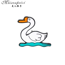 Meirenpeizi Badges Animal duck Swim Custom Brooches Bag Clothes Lapel Pin Punk Black White Jewelry Gift