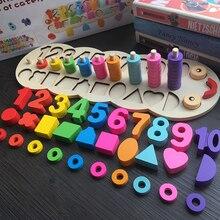 Drewniane zabawki dla dzieci materiały montessori naucz się liczyć liczby pasujące cyfrowy kształt dopasuj wczesną edukację nauczanie zabawki matematyczne