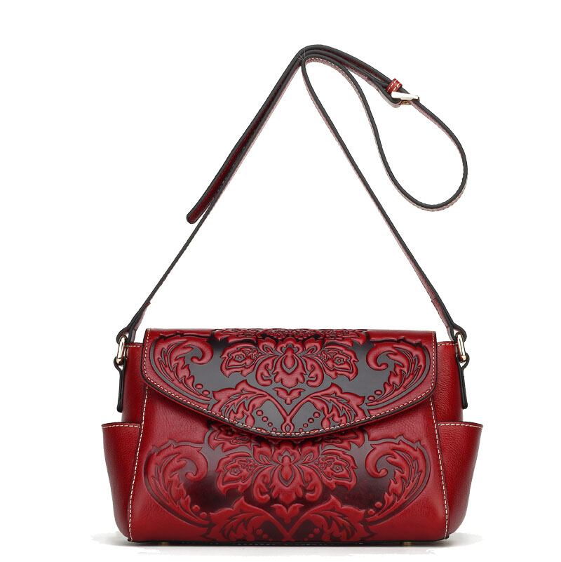 Famous brand top quality Cow Leather women bag Fashion Messenger Bag Retro embossed shoulder bag Small square package