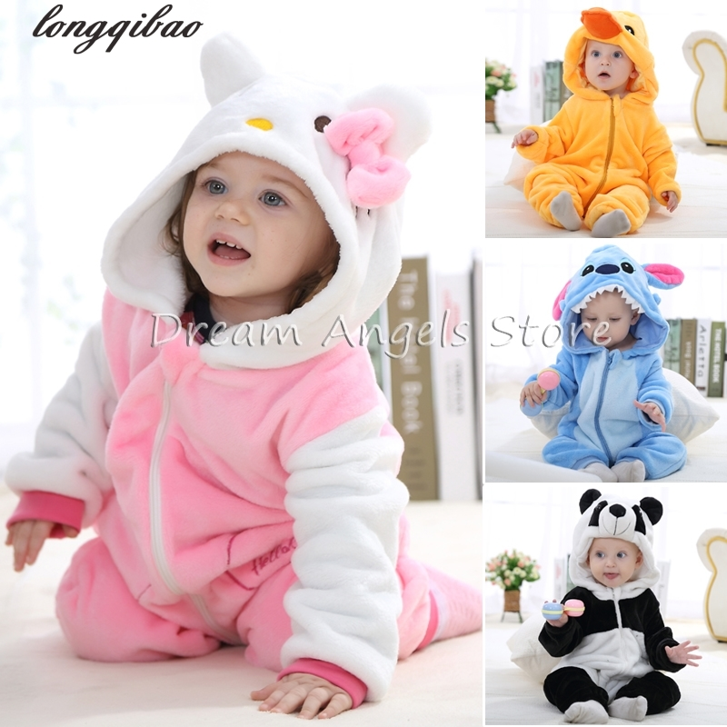 Baby Boys Girls Pajamas Autumn Winter Children Flannel funny animal Stitch panda Pajamas Kid Onesie Sleepwear Crawling clothes