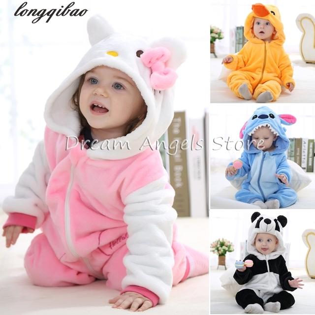 Muchachas de Los bebés Pijamas Niños Otoño Invierno de Franela animal divertido Arrastrándose ropa Puntada panda Onesie Ropa de Dormir de Los Pijamas Del Cabrito
