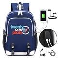 Детский рюкзак  школьные сумки  модный рюкзак Mochila Twenty One Pilots с принтом  крутой рюкзак для мальчиков  Мультяшные сумки на плечо