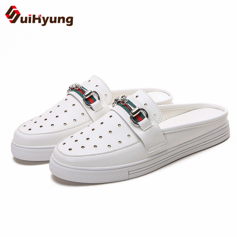 Suihyung 2019 New Women Flats Summer White Shoes Plus Size 34-43 Casual Flat Slides Slip-On Slingbacks Outside Platform SneakersSuihyung 2019 New Women Flats Summer White Shoes Plus Size 34-43 Casual Flat Slides Slip-On Slingbacks Outside Platform Sneakers