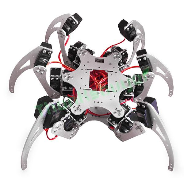 18DOF Aluminium Hexapod Spider Six Legs Robot Kit w/ 18pcs Servo Horn & Ball Bearing Fully Compatible - Silver 18dof aluminium hexapod spider six legs robot kit w 18pcs mg996r servo