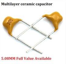50PC 221 222 223 224 225 300 330 331 332 334 335 5.08 MILÍMETROS capacitor cerâmico Multilayer 33/330PF 2/3. UF 3 3.3NF 50V NF pf Monolítico
