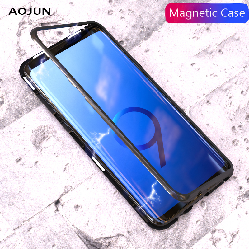 Aojun Magnetic Adsorption Metal Case For Samsung Galaxy S8 Plus Note 8 S9 S9 Plus Tempered Glass Cover For iPhone X 8 8 Plus ...