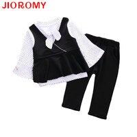 JIOROMY 2018 Girls Spring New Vest T Shirt Pants 3 Sets Dot Polka Shirt Pattern Joker