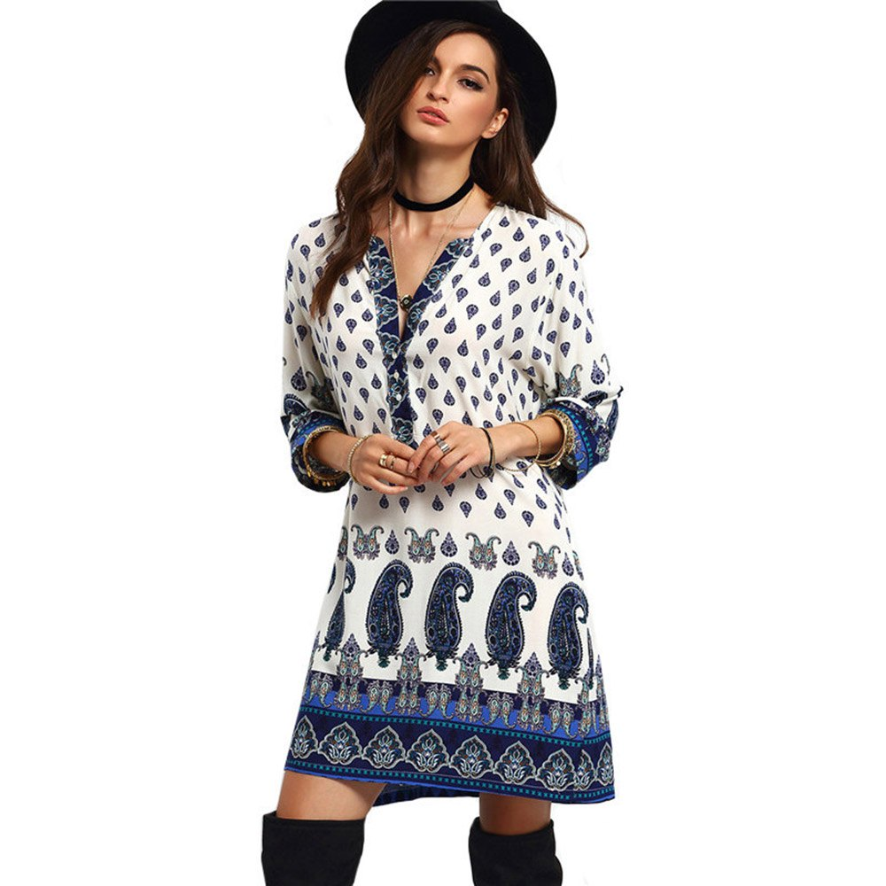 VESTLINDA Casual Bohemian Beach Loose Women Summer Ethnic Dress Patterns Print Boho Mini Blouse Dress 3/4 Sleeve Hippie Vestidos