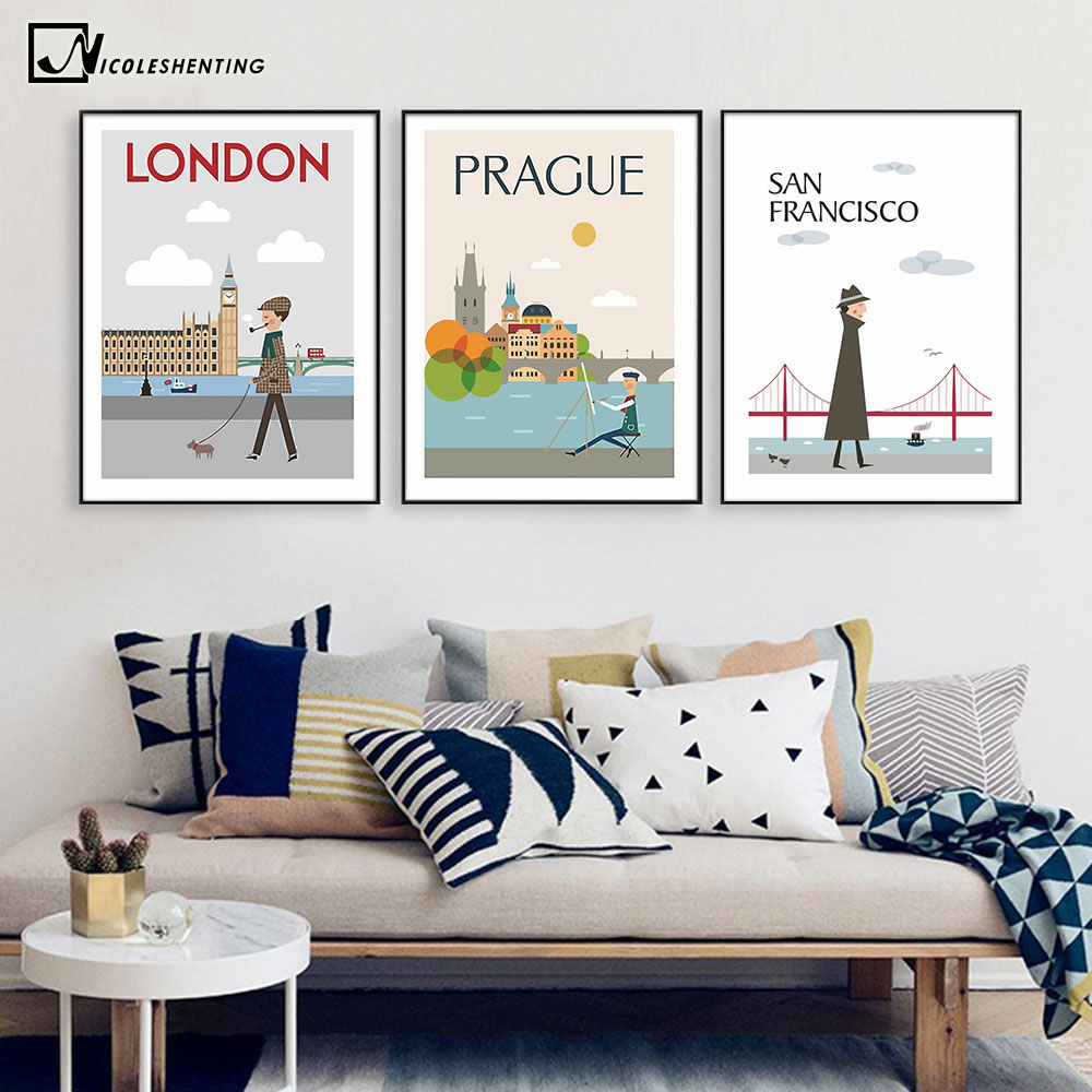 The Morning of City London New York Vintage Poster Landscape