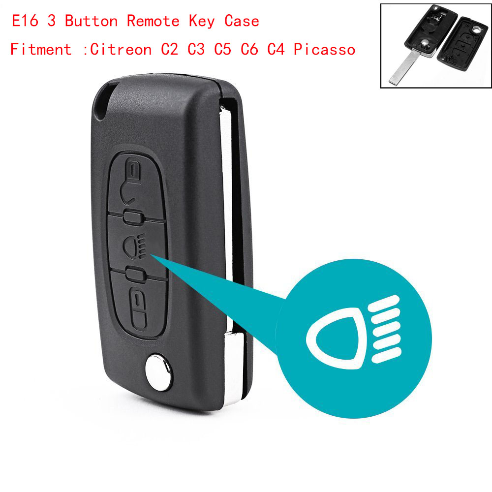 3 Button Uncut Blade Car Key Replacement Remote Key Case Shell For Citroen C2 C3 C4 C5 C6 Picasso(China)