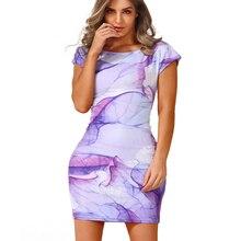 summer women's fashion Bodycon round neck short-sleeved Tight Dress Sexy Club Ladies Vintage Print Dress Sheath Mini dress