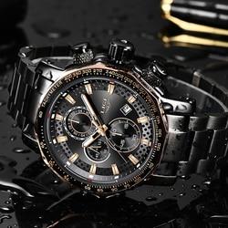 Relogio Masculino LIGE nowy Sport męskie zegarki z chronografem Top marka luksusowy pełny stalowy zegar kwarcowy wodoodporna duża tarcza do zegarka mężczyzn w Zegarki kwarcowe od Zegarki na