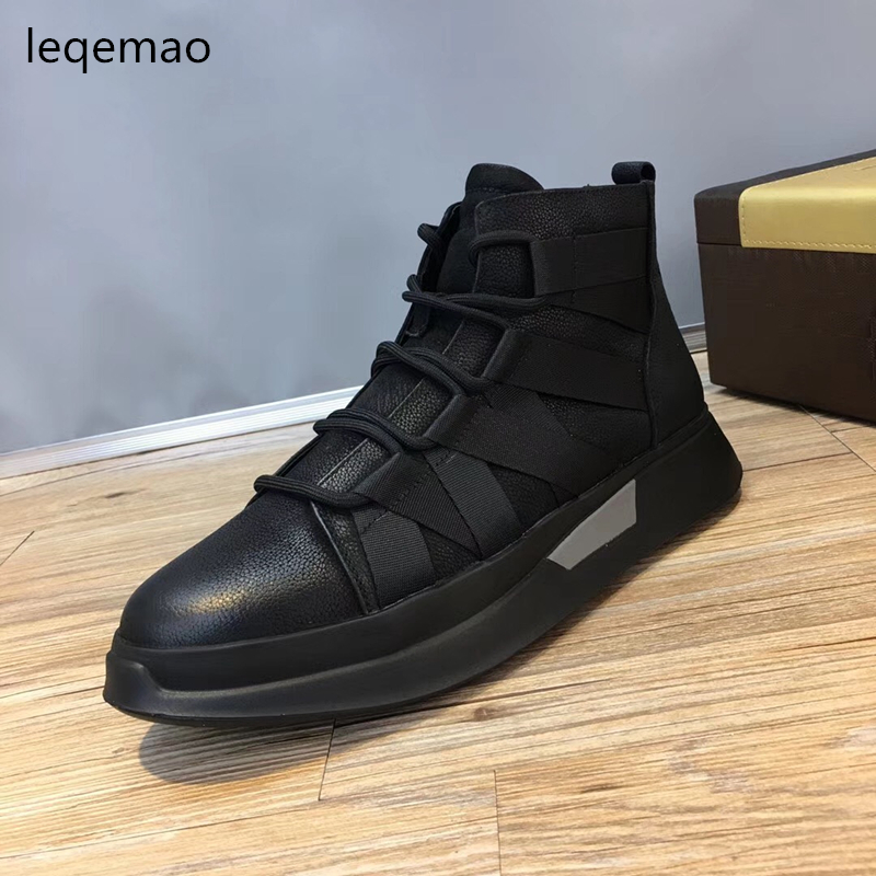 Hot Sale Spring Autumn Man Flat High-top Comfortable Sneakers Genuine Leather Lace Up Men Black Color Casual Shoes Brand Boots hot sale fashion comfortable men casual shoes soft genuine leather high top zipper thick sole heighten man shoes size 38 44