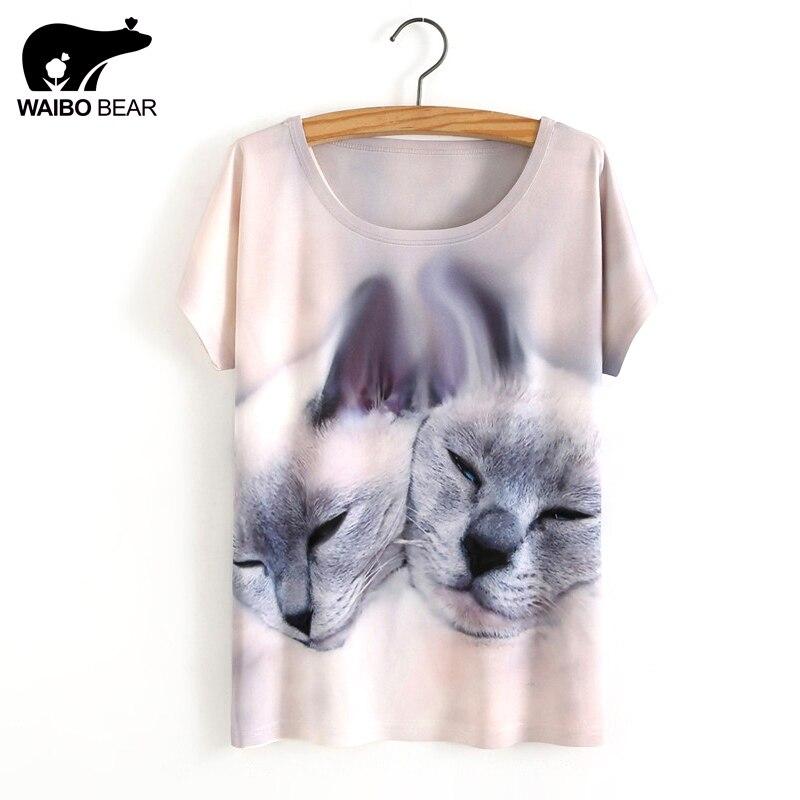 Vente chaude Une Taille Lâche Court Manches Chauve-Souris des Femmes  T-Shirt mignon Cat Imprimé T-shirts Femmes T-shirt Imprimé Animal Coton Tops 61ee21c666d8
