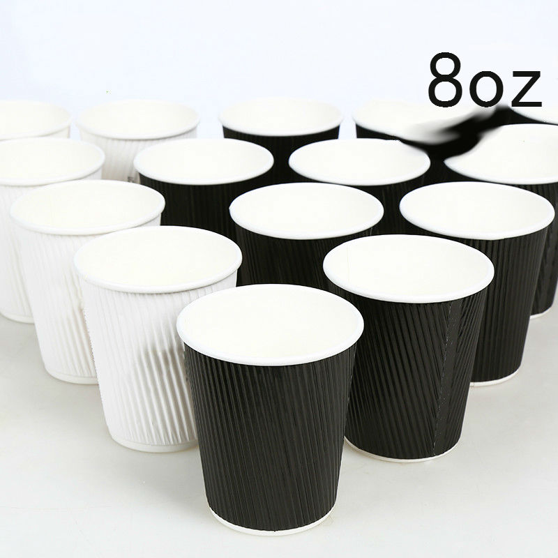 8 OZ <font><b>Disposable</b></font> Black/White Thick Corrugated <font><b>Paper</b></font> Coffee <font><b>Cup</b></font> Can be Filled into Hot <font><b>Water</b></font> Milk Tea <font><b>Juice</b></font> <font><b>Cup</b></font> 100pcs/lot