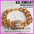 free ship! 10pcs/lot Gold Chain chunky chain Bracelet Bracelet with Rhinestone Pave charm Alphabet-C word