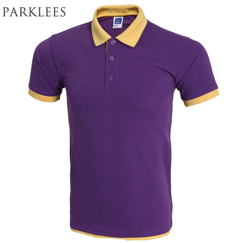 Classic Polo Shirt Men Polo Homme Mens Fashion Brand Purple Yellow Fake 2 Pieces Polo Shirts Summer Style Polos 3Xl
