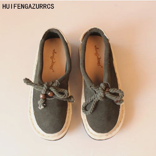 HUIFENGAZURRCS-Pure handmade shoes,the retro art mori girl Flats shoes,Arts Genuine leather Tie Round Comfortable leisure shoes huifengazurrcs new pure handmade casual