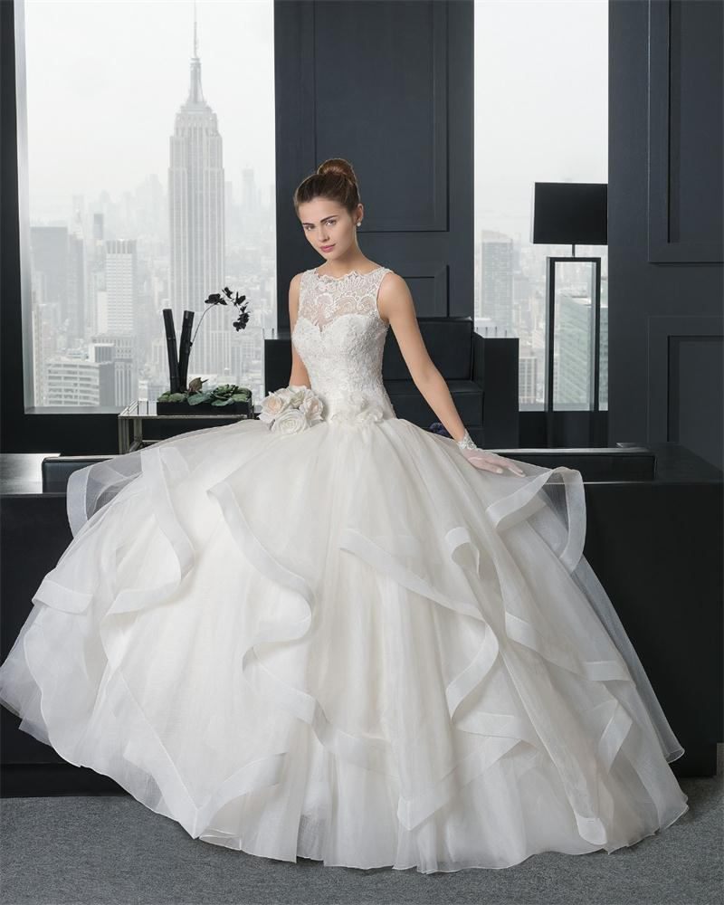 2017 Fancy Ball Gown Wedding Dresses With Tiered Skirt Lace Appliques Top Bodice Bridal Gowns Vestido De Novia Robe Mariagein From: Fancy Ball Dresses Wedding At Reisefeber.org