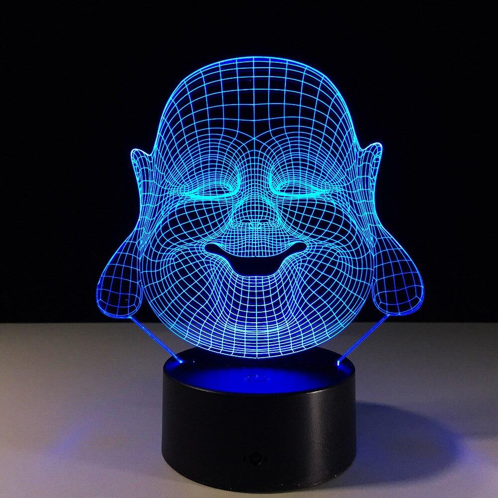 Будда Майтрея 3D фантазия светодиодный ночник 7 цветов Изменение Настольная лампа украшение партии Оригинальные светильники USB Smart Touch свет