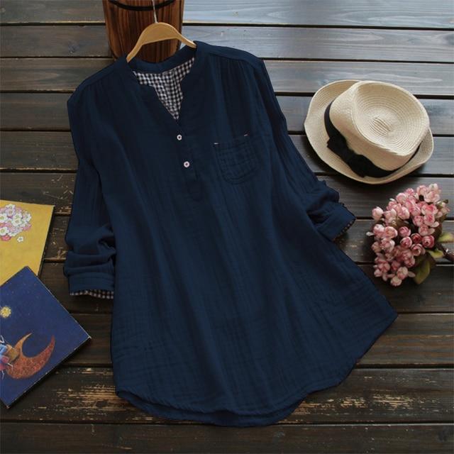 174a5396bf3 Top Fashion ZANZEA Women V Neck Long Sleeve Solid Loose Shirts Buttons  Pockets Cotton Linen Blouse