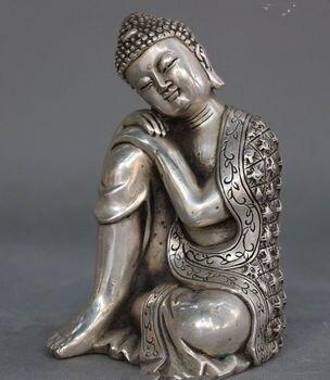 Tibet Tibetan Buddhism white copper Seat Sleep Shakyamuni Buddha Statue