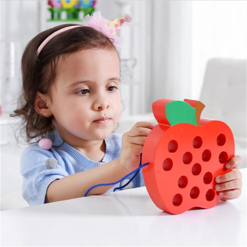 Montessori Wooden Threading Big Apple Blocks Set Toys For Children Oyuncak Oyuncaklar Brinquedos Juguetes Brinquedo 48