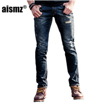 Aismz Men's Jeans 100% Cotton Stretch Black Denim Brand Men Jeans Pants Trousers Men's Clothing 60035