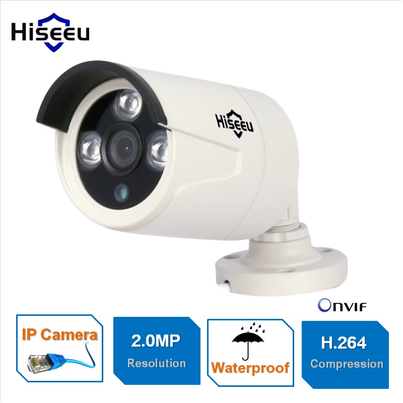 HD 1080P 2.0MP Mini Bullet IP Camera ONVIF 2.0 Waterproof Outdoor IR CUT Night Vision P2P Hiseeu hd 1 3mp ip camera ptz bullet 4x zoom 960p hd project night vision outdoor waterproof ircut onvif p2p onvif poe hiseeu