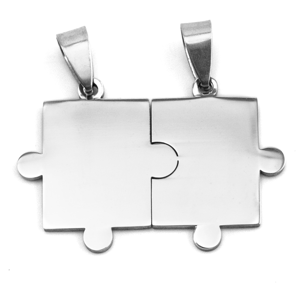 Simsimi 50pcs DIY Piece jigsaw puzzle tags charms high polish Pendant stainless steel Necklace for men