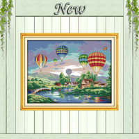 Colorful Balloons Counted Printed On Canvas DMC 11CT 14CT Cross Stitch Kits Needlework Sets Embroidery Nature