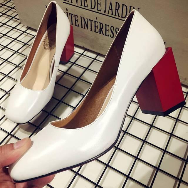 2017 Krazing Olla Nueva marca de moda superficial zapatos de colores mezclados tacones altos de cuero genuino mujeres bombas shallow maduro de alta calidad