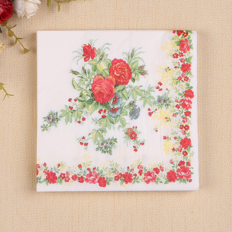 2packs Food-grade Colorful Flower Design Printed Paper Napkin Placemats for Party Decoration table decoration accessories napkin