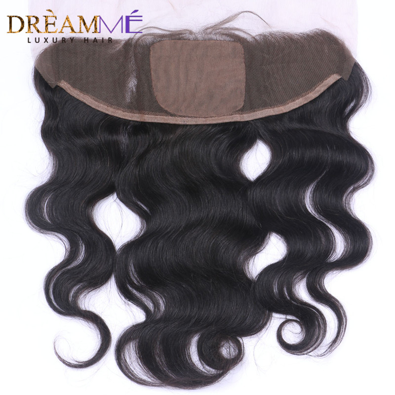 Dreamme Hair Brazilian Body Wave Silk Base Lace Frontal Closure 13x4 With Baby Hair Double Knots