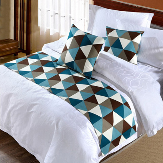 Fashion Geometric Design Bed Runner Scarf Tail Towel For Home Hotel Bedroom