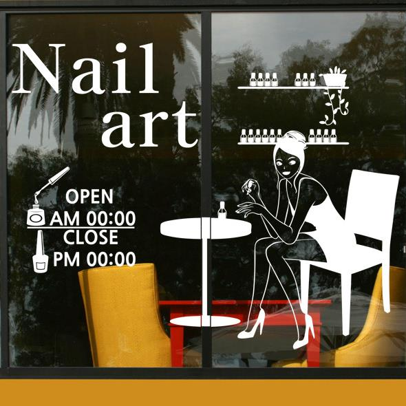 Nail bar wall decal girl manicure polish shop hours for Nail salon hours