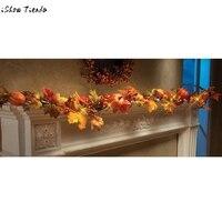 Mode 1.8 M LED Verlichte Fall Herfst Pompoen Maple Bladeren Garland Thanksgiving Decor