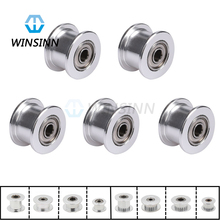 Aluminum 2GT GT2 Timing Belt Idler Pulley 16 20 Teeth Tooth Toothless 16T 20T 3mm 5mm Bore 3D Printer 6mm 10mm Width Timing Belt