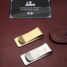 Gold and silver Stainless steel office clips  custom free with my logo text company info/address by laser machine