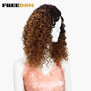Image 3 - FREEDOM perruque pour femmes noires, Lace Front wig crépus bouclés, Afro, résistant à la chaleur, couleur Caramel ombré brun, haute température