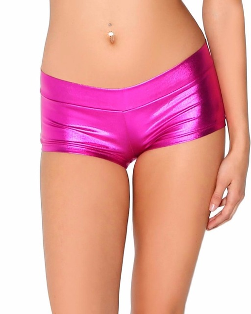 Womens Low Waisted Sexy Lycra Metallic Rave Booty Dance Shorts Spandex Shiny Pole Dance Shorts Gold