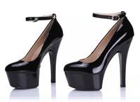 Plus:34 43 autumn/winter 2016 fashion Ankle Strap women's shoes 15cm ultra high thin heels shallow mouth platform wedding pumps