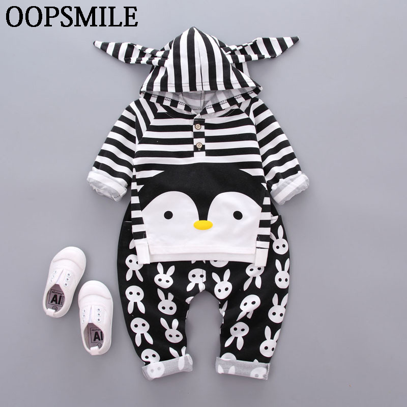 Cartoon Pengui Autumn Newborn Baby boys Clothes Hoodie Tops T-shirt+Cotton Pants 2pcs Suit Newborn Baby Boys Girls Clothing Sets