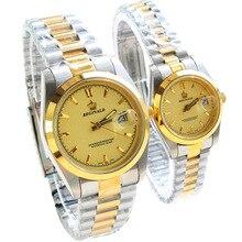 HK Marca de Lujo Reloj de Señora de Oro Acero Inoxidable de Cuarzo Vestido Relojes Hombres Moda Pareja Casual de Negocios Reloj reloj de hombre