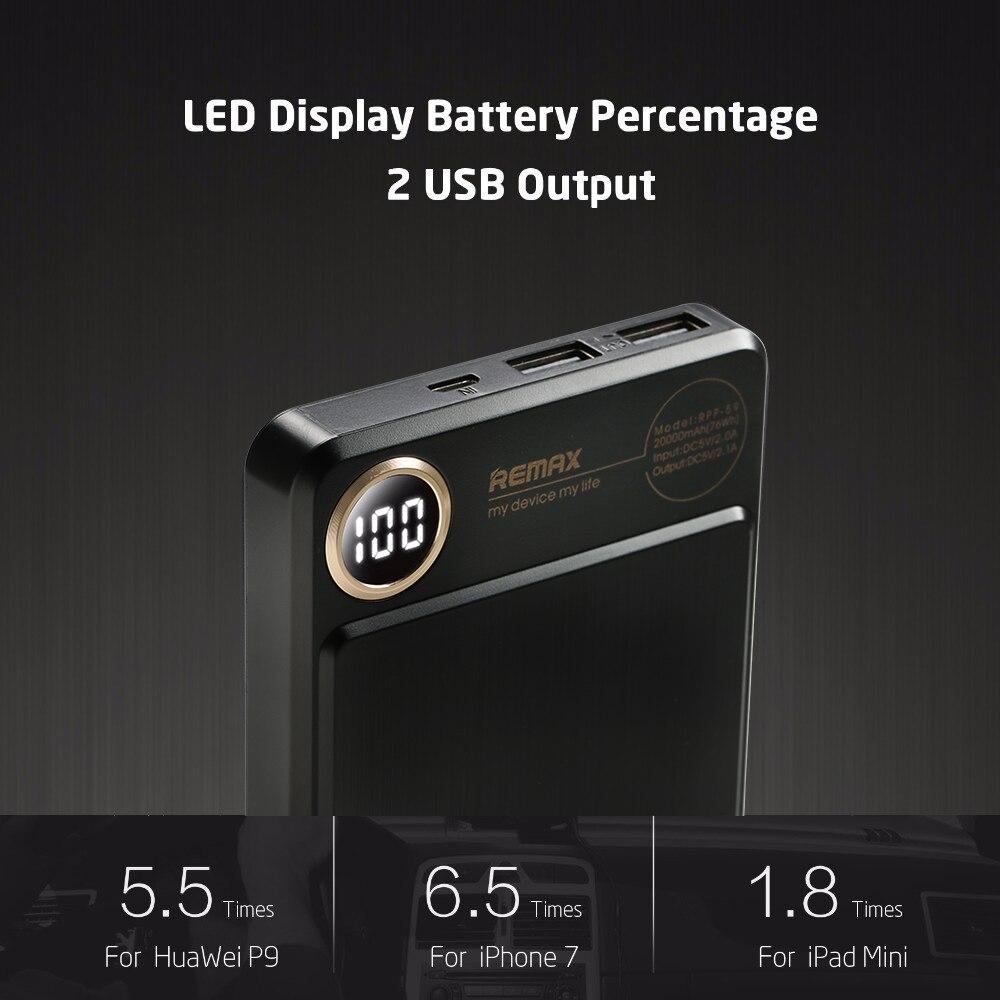 REMAX RPP-59 Puissance banque 20000 mah Double USB Rapide Polymère batterie Chargeur de Batterie Externe de Téléphone Portable De Charge Portable Powerbank - 4