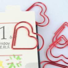 Красный «любящее сердце» скрепки для бумаги необычной формы