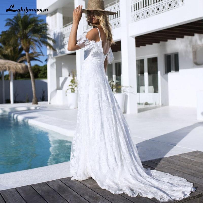 Beach Wedding Dresses 2018 Boho Wedding Dresses Lace Appliques Bridal Gowns Country Bride Dress